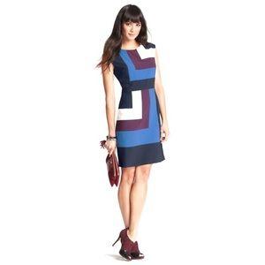 Ann Taylor Geometric Colorblocked Sheath Dress